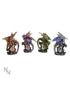 Dragon Crystal Protector Set of 4 Figurines Fantasy Ornaments Dragons