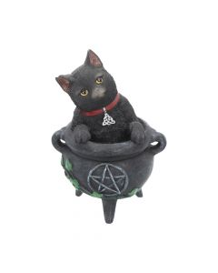 Smudge Black Cat Caludron Figurine Wiccan Witch Gothic Ornament NN Small Figurines