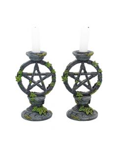 Wiccan Pentagram Candlesticks 15cm (Set of 2) Witchcraft & Wiccan Wiccan Premium Range
