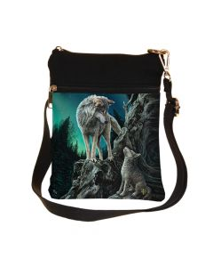Small Guidance Wolf and Pup Shoulder Bag by Lisa Parker Artist Wolves