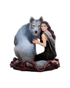 Soul Bond by Anne Stokes hand-painted wolf and woman resin figurine Medium Figurines