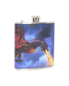 Fire in the Sky Hip Flask (JR) 7oz Dragons Sale Items Artist Collections