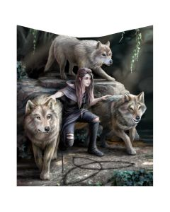 Anne Stokes Power of Three Wolf Guardian Throw Blanket Coming Soon