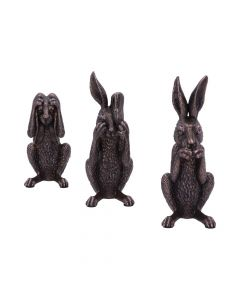 See No, Hear No, Speak No Evil Bronze Hare Figurines NN Small Figurines