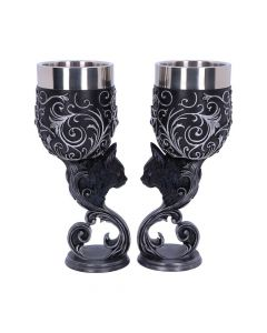 Familiars Love Goblets 18.5cm (Set of 2) Cats Popular Products - Dark Premium Range