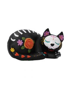 Sleepy Sugar Figurine Mexican Day of the Dead Sugar Skull Cat Ornament Day of the Dead