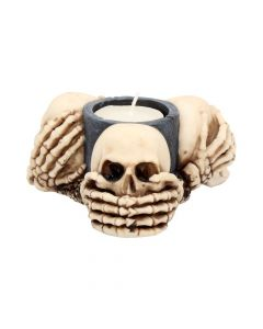Three Wise Skulls Tealight Holder 11cm Skulls Skulls (Premium) Premium Range
