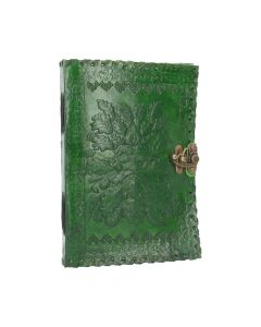 Real Leather Greenman Green Embossed Journal with Lock Tree Spirits