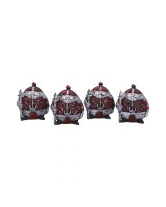 Set of Four Small Rotund Sir Real Medieval Knight Figurines Medieval