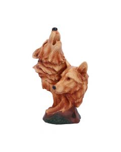Natural Call Howling Wolf Wood Effect Bust Wolves