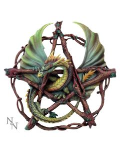 Anne Stokes Green Forest Pentagram Dragon Wall Plaque Back in Stock