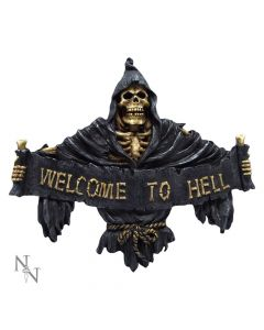 Welcome To Hell Skeleton Grim Reaper Hanging Sign Reapers