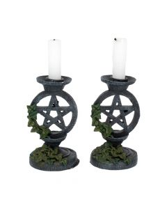 Pair of Aged Ivy Pentagram Candlesticks Gothic Candle Holders Popular Products - Dark