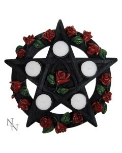 Pentagram Rose Tealight Holder 29.5cm Witchcraft & Wiccan Mother's Day Premium Range