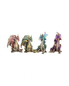 Precious Wings Set of 4 Figurines Colourful Dragons Ornaments Dragons