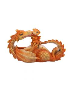 Sweetest Moment Orange Dragon and Dragonling Kissing Figurine Dragons