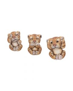 See No, Hear No, Speak No Evil Striped Tiger Cub Figurines All Animals