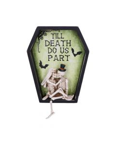 Till Death Do Us Part Skeleton Bride and Groom Wall Plaque Skeletons