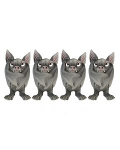 Set of Four Fang Gothic Bat Wings Closed Figurine Figurines Small (Under 15cm)