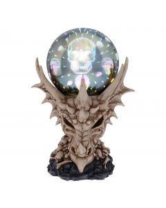 Skeletal Realm Dragon Skull and Light Up Orb Figurine Dragons