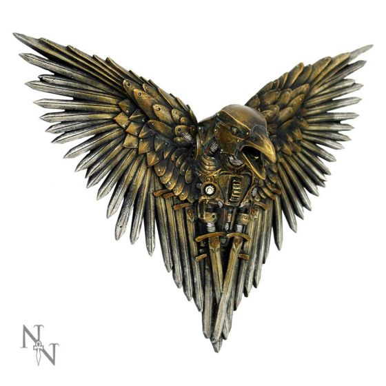 Blade Raven Plaque Steampunk Sword Crow Wall Hanging Back in Stock