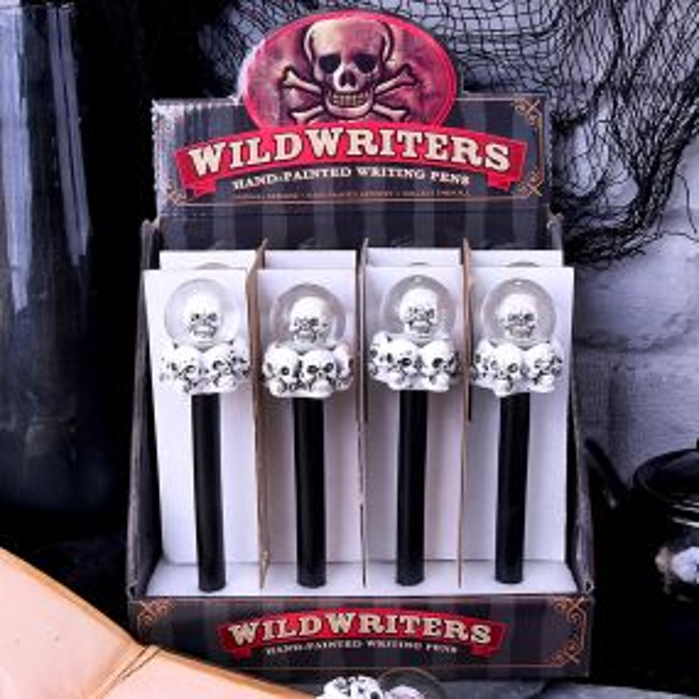 Wild Writers Skull Water Ball Pen16cm (Set of 12)