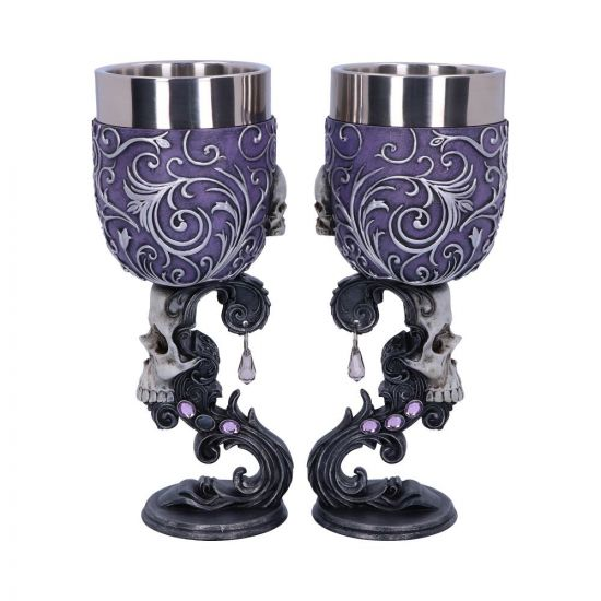 Deaths Desire Twin Skull Heart Set of Two Goblets New in Stock
